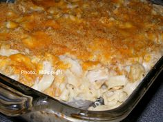 Chicken Noodle Casserole ---------- Cooked chicken, noodles, cream soups, sour cream, and seasonings topped with cheese and buttered crumbs and baked. I used rotisserie chicken to save time. It's what's for supper at my house!