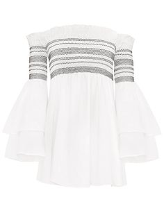 """Striped Off The Shoulder Smocked Bell Sleeve Dress 100% cotton with lining Made by us Model is wearing a size small and model's height is 5.8""""Size: smallLength:"""