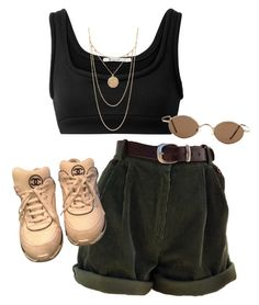 A fashion look from March 2018 featuring bra crop top, white shoes and pendant necklaces. Browse and shop related looks. Retro Outfits, Grunge Outfits, Cute Casual Outfits, Stylish Outfits, Vintage Outfits, Summer Outfits, Rock Outfits, Winter Outfits, Look Fashion