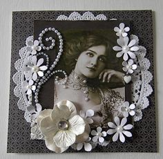Lady 2 Elegant and feminine heritage page with a gorgeous photo frame of paper doilies, pearl studded flourishes and dimensional flowers. Heritage Scrapbook Pages, Wedding Scrapbook Pages, Scrapbook Cards, Scrapbook Frames, Scrapbook Designs, Scrapbook Page Layouts, Scrapbooking Vintage, Etiquette Vintage, Paper Doilies