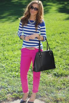 Pink and Blue! Top: F21, Pant: Gap, Shoes: Ivanka Trump, Bag: Kaboo Bags, Necklace: F21, Watch: MK  Bracelets: J.Crew, Belt: Gap, Nails: Morgan by Julep