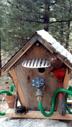 Rustic Garden Birdhouse with Vintage Architectural Salvage. Homemade Bird Houses, Birdhouse Designs, Birdhouse Ideas, Tin Tiles, Bird House Kits, Bird Aviary, Primitive Antiques, Backyard Birds, Backyard Canopy