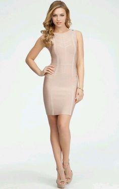 BebePink Nude Chevron Stripe Bandage Dress in Clothing, Shoes & Accessories | eBay