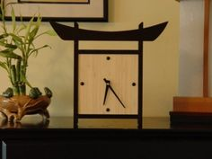 Japanese Style Table Top Bamboo Clock by takumidesigns24 on Etsy,