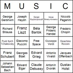 Music Bingo Cards. Possibly good review, instead of just saying the name, state something about them that the students have learned