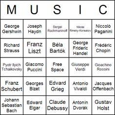Famous Composers Bingo Card