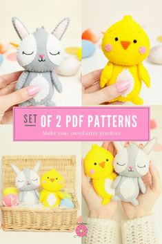 Set of 2 Easter Patterns Bunny ChickAn Inseparable couple!Two sweet felt plushes.You can easely sew these funny plushes using the patterns.This could be your perfect Easter gift! Easy Sewing Patterns, Pdf Patterns, Plush Pattern, Bunny Plush, Felt Toys, Easter Gift, Pattern Making, Sewing Projects, Couple