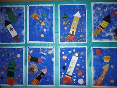 Avaruusraketit. Tausta sormivärein töpöttämällä. Raketit ja planeetat leikkaa-liimaa periaatteella. Mukavia planeetta-kuoseja löytyy lehdistä. Näyttävää!