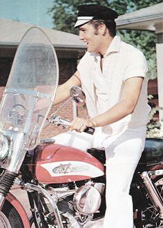 Elvis on his Harley-Davidson, September 1956.