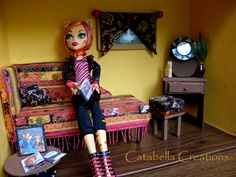 Day and a half project. Monster High Toralei Stripes Handmade Box Room (doll not included). Special made for a friend's daughter. (not for sale)♥