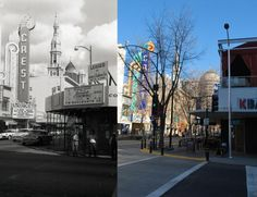 Downtown Sacramento's K Street in the 1950s and in 2013. Historic photo from the Center for Sacramento History's Ernest W. Myers collection (1989/041/1871).