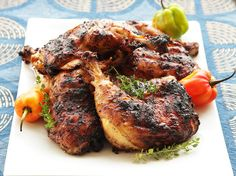 Today we're taking it easy and heading to the Caribbean for some traditional Jerk Chicken! Juicy with a hint of spice, Jerk Chicken is always full of flavor Serious Eats, Grilled Jerk Chicken, Butterflied Chicken, Marinated Chicken, Roast Chicken, Grilling Recipes, Cooking Recipes, Frango Chicken, Food Lab