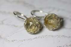 Round 925 sterling silver earrings with gemstone citrine. Citrine silver earrings. Gemstone silver earrings.
