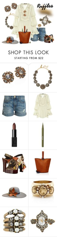 """Ruffled too - second chance"" by riquee ❤ liked on Polyvore featuring Oscar de la Renta, Current/Elliott, Roberto Cavalli, NARS Cosmetics, Stila, Vivienne Westwood, 10 Crosby Derek Lam, The Season Hats, Auden and Cathy Waterman"