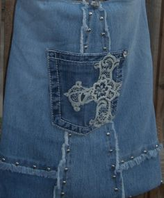 Denim Handmade Sling Tote Bling Cross  by CrossMyHeartBags on Etsy