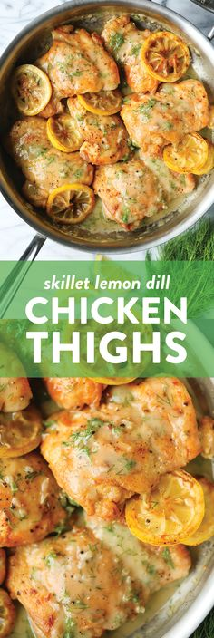 Skillet Lemon Dill Chicken Thighs Recipe - Damn Delicious - - A speedy dinner made in 30 min from start to finish! Served with the most heavenly lemon dill cream sauce of your life. Dill Recipes, Yummy Chicken Recipes, Yum Yum Chicken, Heavenly Chicken Recipe, Quick Chicken Thigh Recipes, Easy Recipes, Healthy Recipes, Damn Delicious Recipes, Best Chicken Thigh Recipe