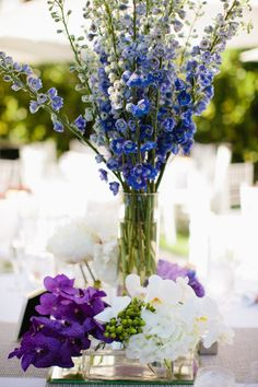 Purples and Blues done brilliantly in this modern Miami Beach wedding!  http://su.pr/AuGmMV ~ Photography by kallimaphotography.com, Floral Design by oceanflorist.net, Wedding Planning by oceanflorist.net -repinned from http://L2weddingphotography.com   #weddingphotographyideas