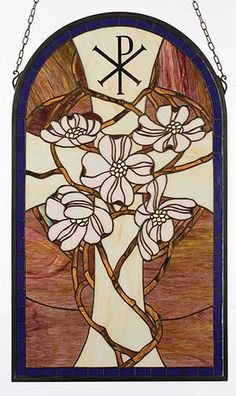 Shows the symbol for Christ in Greek and the Cross with dogwoods which depict His resurrection to God's right Hand in Heaven. | Stained Glass Windows, Christian Cross with Dogwood Art Glass Window ...