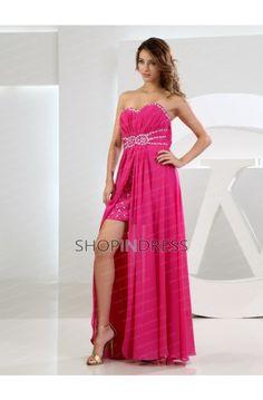 Chiffon Beaded A-line Prom Dress