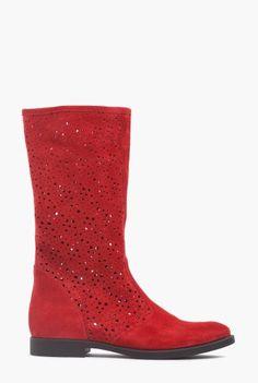 Cizme scurte de vara cu perforatii din piele intoarsa naturala 1722 rosu -  Ama Fashion