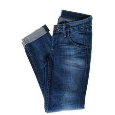 Hudson NEW Bacara Straight Cuffed Blue Cropped Jeans Ultra-Low Rise... ❤ liked on Polyvore