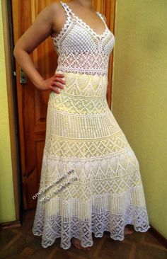 фото белого сарафана крючком Challenging Dress Pattern