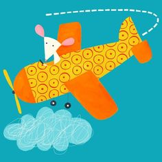 Travel Illustration, Cute Illustration, Art Wall Kids, Art For Kids, Print Pictures, Cute Pictures, Airplane Quilt, Plane Drawing, Nursery Paintings