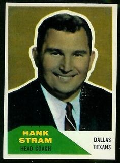 1960 Fleer Hank Stram Dallas Texans #HeadCoach