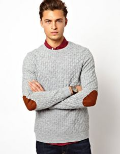 Image 1 ofASOS Cable Jumper with Elbow Patches