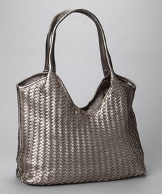 Silver Woven Tote by Christian Livingston