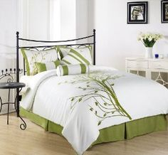 Chezmoi Collection 7 Pieces Green Tree on White Comforter Set Bed-in-a-bag for Queen Size Bedding Lime Green Bedding, Green Comforter, White Bedding, Comforter Sets, Bedroom Green, Bedroom Decor, Cozy Bedroom, Bedroom Ideas, Tree Bedroom
