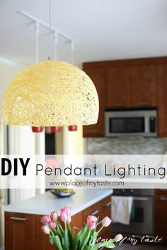 DIY Yarn pendant lamp with super bright LEDs by Place Of My Taste