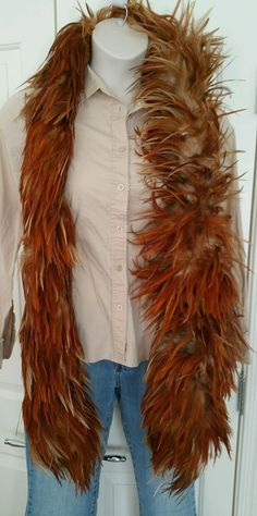 RARE Womens Ostrich Feather Boa EXOTIC Vintage NATURAL Brown Red Orange 6.5 Feet