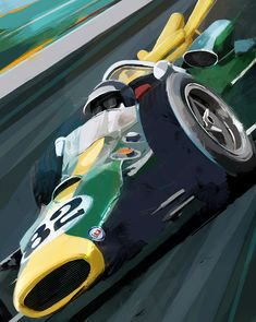 F1 champion Jim Clark piloting his Lotus to victory at the 1965 Indy 500 - Artwork by Doug Garrison.