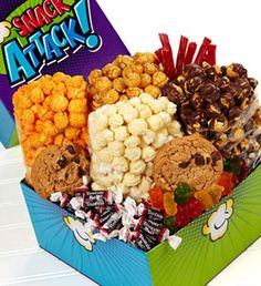 Filled with 2 mouthwatering, soft-baked chocolate chunk cookies, Tootsie Roll® Midgees®, gummy bears, red licorice twists and a terrific popcorn selection–Cheese, White Cheddar, Drizzled Caramel and secret-recipe Caramel corn. $19.99