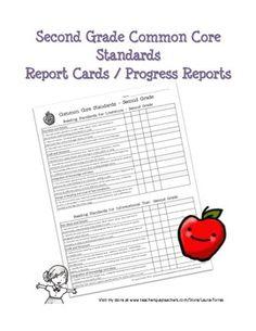 Second Grade Common Core Standards Progress Report. $3.00