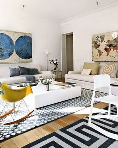bold rugs, love the colours and big artwork