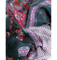 Persian Flowers Dark Grey Scarf - The Scarves Company