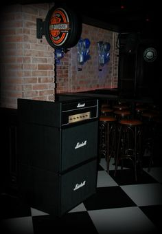 Place for Dj looks like Marshall amp and cabinets made by Custom Barn Projects.