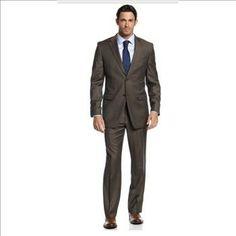Donald J. Trump Suit, Brown Birdseye Trim Fit - Size: 46L/40Wx34L - Retail: $259.99 | Property Room