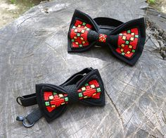 Adult and kids embroidered Bow Ties Western by NaiadeHandmade