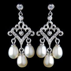 Antique Rhodium Small Freshwater Pearl Drop Chandelier Earrings 6524