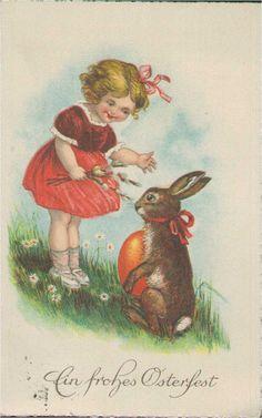 Ein frohes Osterfest, Mädchen mit Osterhase, Künstler-Postkarte