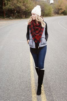 Herringbone vest, plaid blanket scarf, knee high boots and a beanie for a bundled up winter outfit! Cold weather outfit from www.theredclosetdiary.com
