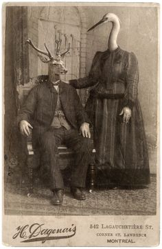 Creepy Pictures, Old Pictures, Old Photos, Vintage Photos, Vintage Bizarre, Creepy Vintage, Images Terrifiantes, Halloween Photos, Animal Heads