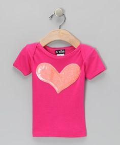 Hot Pink & Orange Sequin Heart Tee - Toddler & Girls