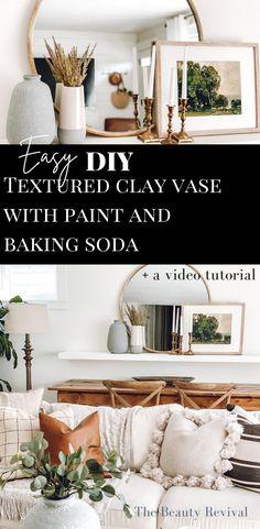 Easy DIY Textured Clay Vase with Paint & Baking Soda tutorial #bohohome #bohodecor #modernfarmhousedecor #diydecor #easydiy #homedecor #livingroomdecor #BakingPowderForCleaning Diy Painted Vases, Hand Painted, Painting Laminate Countertops, Clay Texture, Diy Carpet Cleaner, Clay Vase, Modern Farmhouse Decor, Affordable Home Decor, Diy Clay