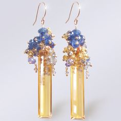 14k Citrine Baguette Earrings with Sapphires by BijouxOdalisque, $305.00