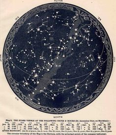 1942 constellations star map original vintage celestial print february march april ($25.00) - Svpply