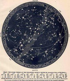 1942 constellations star map original vintage celestial print february march april ($25.00) - Svpply